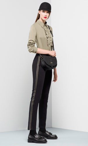 trousers in cotton textile with coloured spectrum