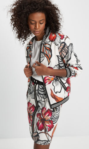 Printed bomber jacket in cotton textile